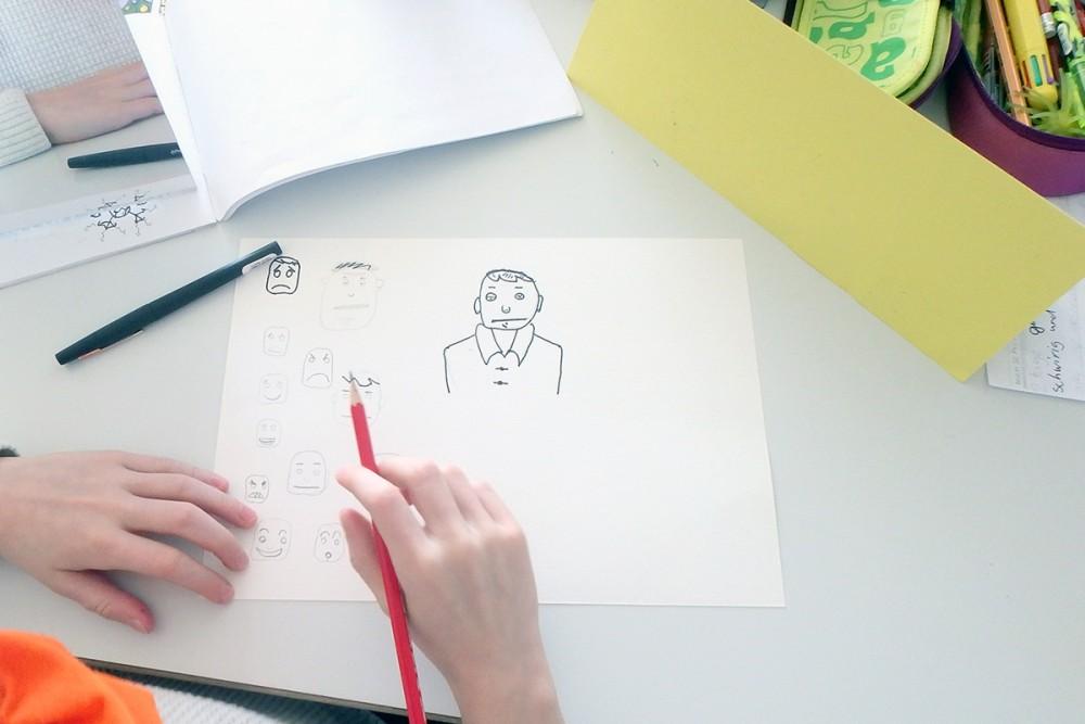 Die Kinder versuchten sich selber im Comic zeichnen
